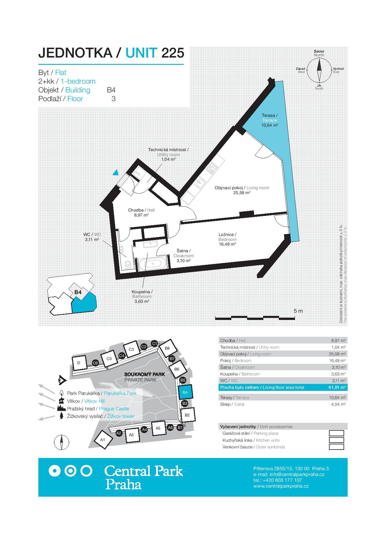 Sale flat , 62 m2 - Pitterova, Praha 3